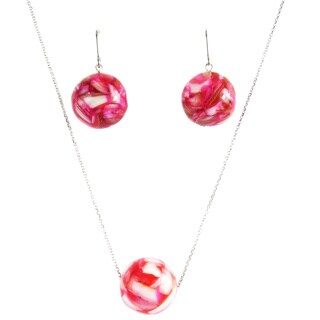Pearl Lustre Pink Mother of Pearl Earring and Pendant Set