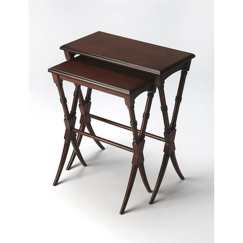 Butler Arabella Traditional Plantation Cherry Rectangular Nesting Table - Dark Brown
