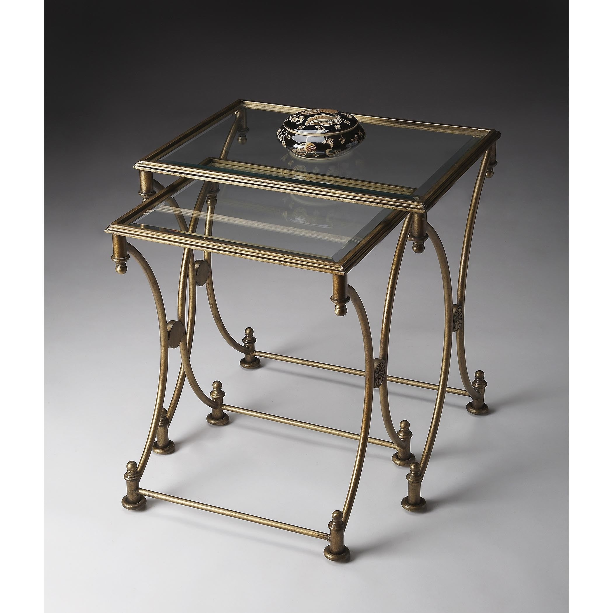 Picture of: Handmade Butler Beverly Antique Gold Metal And Glass Nesting Tables Overstock 12058840