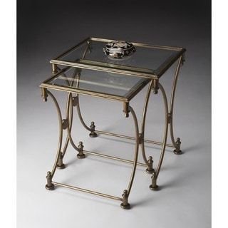 Handmade Butler Beverly Antique Gold Metal and Glass Nesting Tables