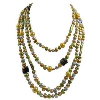 Pearl Lustre Multicolored Exotic Freshwater Pearls Layered Necklace