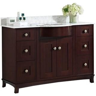 48-in. W x 22-in. D Cherry Wood-Veneer Vanity Set In Coffee