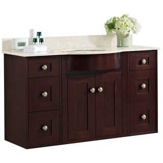 48-in. W x 22-in. D Cherry Wood-Veneer Vanity Set In Coffee