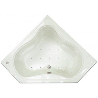 Signature Bath White Acrylic 53.75-inch x 22.75-inch x 17.5-inch Drop-in Air Corner Tub with Stainless Jets and Heated Blower