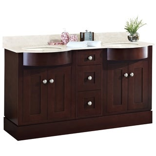 60-in. W x 22-in. D Cherry Wood-Veneer Vanity Set In Coffee