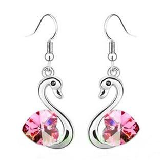 Crystal Rhinestone Dangle Swan Fish Hook Earrings