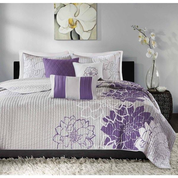 Madison Park Bridgette Purple 6-piece Coverlet Set