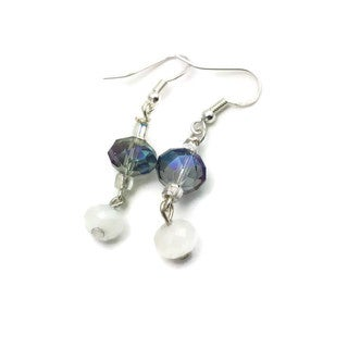 Mama Designs Sterling Silver Handmade Beaded Faceted Drop Style Earrings