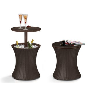 Keter Pacific Cool Bar Brown Wicker Rattan Outdoor Patio Deck Pool Ice Cooler Table Furniture