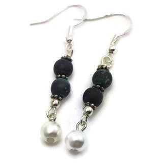 Mama Designs Sterling Silver Handmade Beaded Dark Patina Drop Style Earrings