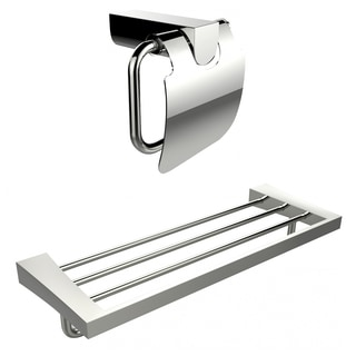 Chrome Plated Toilet Paper Holder With Multi-Rod Towel Rack Accessory Set