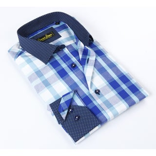 Banana Lemon Classic Blue Plaid Dress Shirt