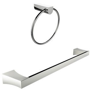 Chrome Plated Towel Ring With Single Rod Towel Rack Accessory Set