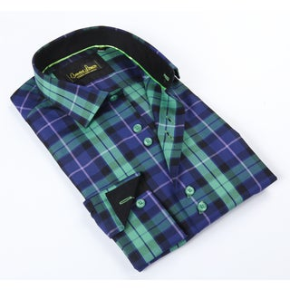 Banana Lemon Classic Green/Purple Plaid Dress Shirt