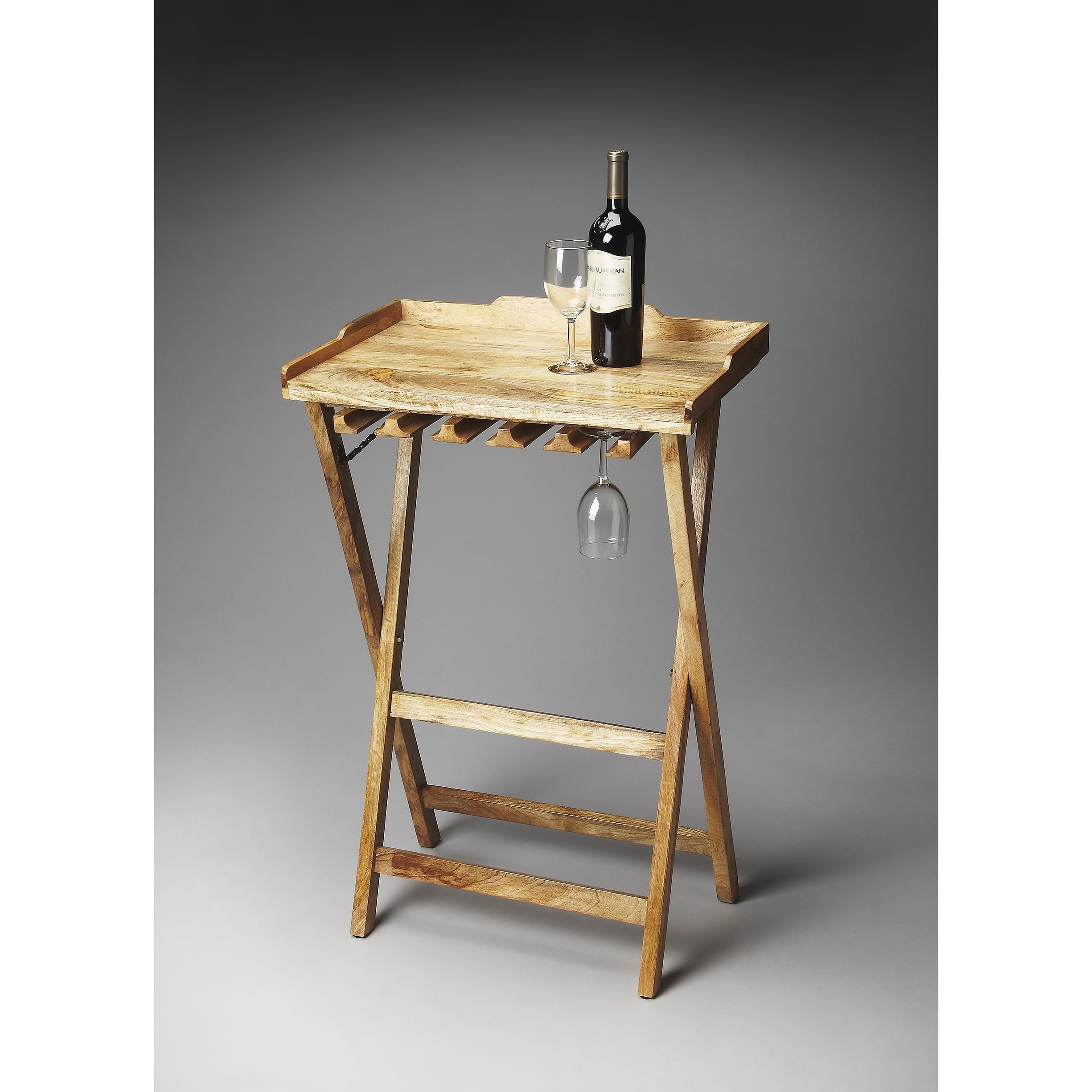 Butler Highland Solid Wood Folding Wine Rack (Natural Woo...
