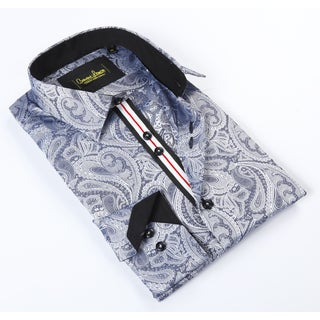 Banana Lemon Classic Grey Paisley Dress Shirt
