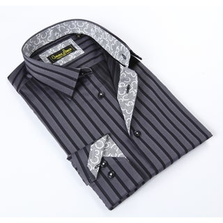 Banana Lemon Classic Button Down Black/Grey Stripe Dress Shirt