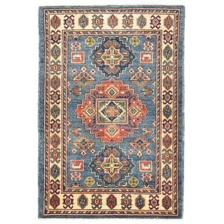 Herat Oriental Afghan Hand-knotted Kazak Blue/ Ivory Wool Rug (2'8 x 3'11)