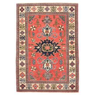 Herat Oriental Afghan Hand-knotted Kazak Red/ Ivory Wool Rug (3'4 x 4'9)