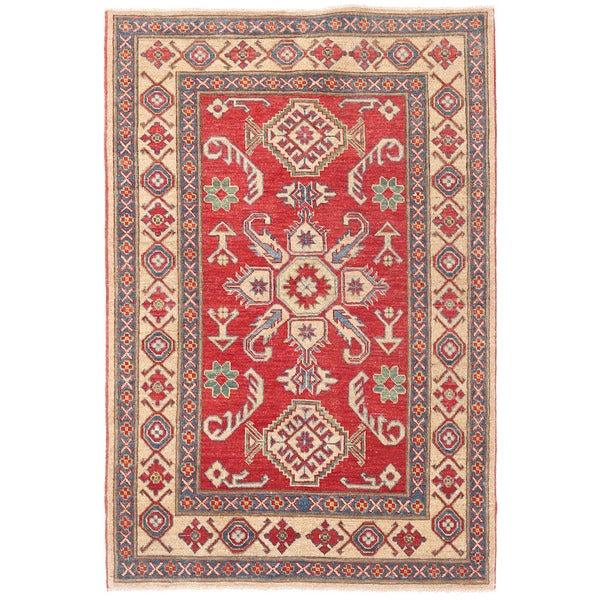 Handmade Herat Oriental Afghan Kazak Wool Rug (Afghanistan) - 3'7 x 5'5