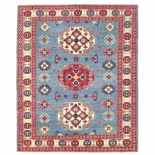 Herat Oriental Afghan Hand-knotted Kazak Light Blue/ Ivory Wool Rug (5'2 x 6'6)