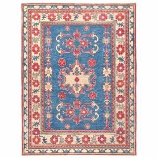 Herat Oriental Afghan Hand-knotted Kazak Blue/ Ivory Wool Rug (4'8 x 6'3)