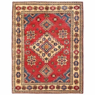 Herat Oriental Afghan Hand-knotted Kazak Red/ Ivory Wool Rug (5'1 x 6'6)