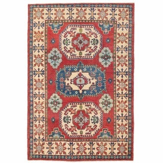 Herat Oriental Afghan Hand-knotted Kazak Red/ Ivory Wool Rug (4'11 x 7'2)