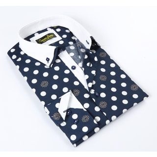 Banana Lemon Classic Button Down Large Polka Dot Navy Dress Shirt