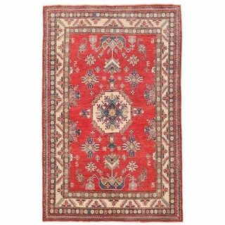 Herat Oriental Afghan Hand-knotted Kazak Red/ Ivory Wool Rug (4'11 x 7'7)