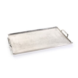 Aluminum Tray with Handles, Rectangular Shape, Silver