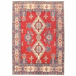 Herat Oriental Afghan Hand-knotted Kazak Red/ Ivory Wool Rug (6'4 x 9'1)
