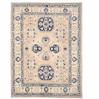 Herat Oriental Afghan Hand-knotted Kazak Beige/ Navy Wool Rug (7'10 x 10'6)