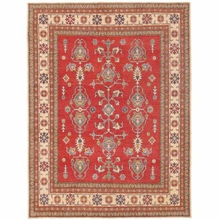 Herat Oriental Afghan Hand-knotted Kazak Red/ Ivory Wool Rug (7'3 x 9'6)