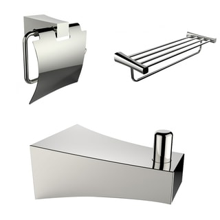 Chrome Plated Multi-Rod Towel Rack With Robe Hook And Toilet Paper Holder Accessory Set
