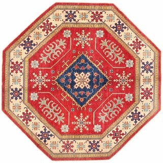 Herat Oriental Afghan Hand-knotted Kazak Red/ Ivory Wool Rug (6'11 x 7')
