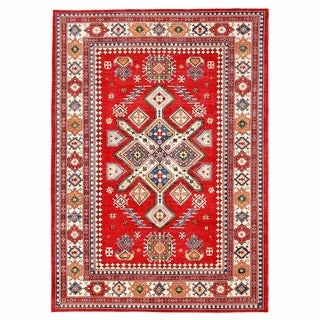 Herat Oriental Afghan Hand-knotted Kazak Red/ Ivory Wool Rug (9'6 x 13'7)