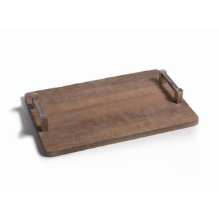Reclaimed Wood with Raw Aluminum Handle Tray-Large