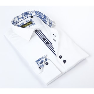 Banana Lemon Classic Button Down White w/Paisley Trim Dress Shirt