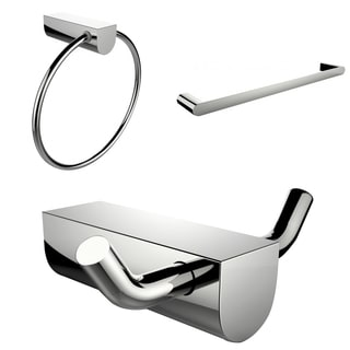 Chrome Plated Towel Ring With Single Rod Towel Rack And Robe Hook Accessory Set
