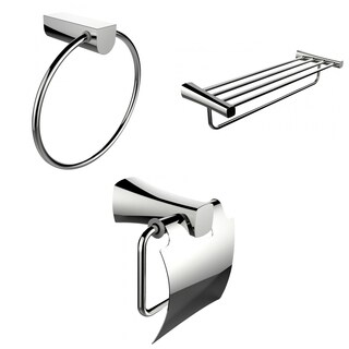Chrome Towel Ring, Multi-Rod Towel Rack And Toilet Paper Holder Accessory Set