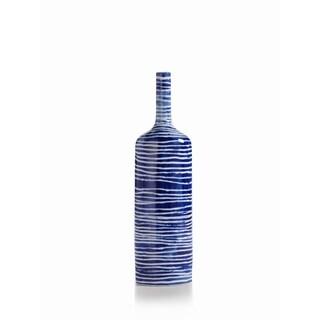 Capri Porcelain Bottle-Horizontal Line Design