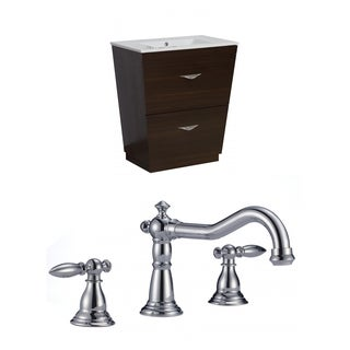 28-in. W x 18.5-in. D Plywood-Melamine Vanity Set In Wenge With 8-in. o.c. CUPC Faucet