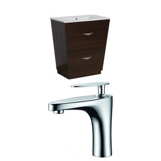 28-in. W x 18.5-in. D Plywood-Melamine Vanity Set In Wenge With Single Hole CUPC Faucet