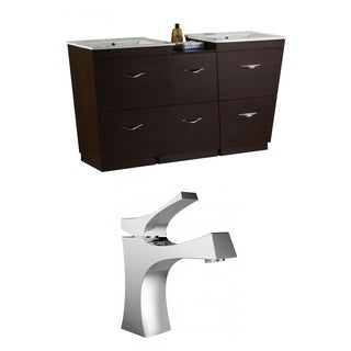 67.5-in. W x 18.5-in. D Plywood-Melamine Vanity Set In Wenge With Single Hole CUPC Faucet