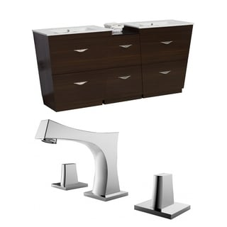 61.5-in. W x 18.5-in. D Plywood-Melamine Vanity Set In Wenge With 8-in. o.c. CUPC Faucet