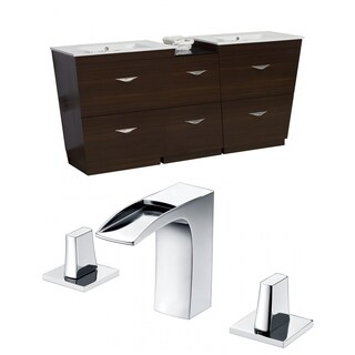 75.5-in. W x 18.5-in. D Plywood-Melamine Vanity Set In Wenge With 8-in. o.c. CUPC Faucet