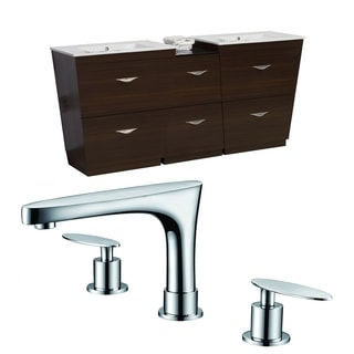 67.5-in. W x 18.5-in. D Plywood-Melamine Vanity Set In Wenge With 8-in. o.c. CUPC Faucet