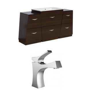 60-in. W x 18.5-in. D Plywood-Melamine Vanity Set In Wenge With Single Hole CUPC Faucet