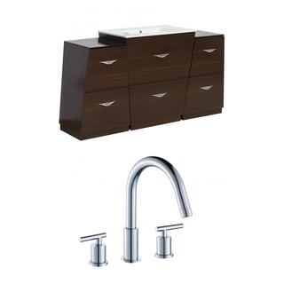 63-in. W x 18.5-in. D Plywood-Melamine Vanity Set In Wenge With 8-in. o.c. CUPC Faucet